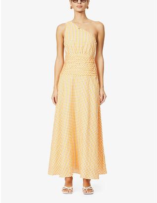 Peony Swimwear One-shoulder gingham-print organic cotton-blend midi dress