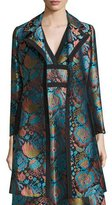Etro Floral Brocade A-Line Coat, Blue/Black/Turquoise