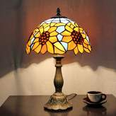 Florcover lighting 12-Inch Vintage Pastoral Sunflower Stained Glass Tiffany Table Lamp Bedroom Lamp Bedside Lamp