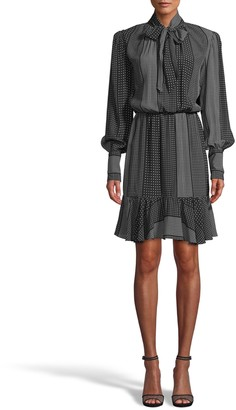 Nicole Miller Kaleidostripe Silk Stock Tie Flounce Dress
