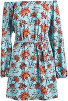 Glam Blue & Orange Floral Tie-Waist Off-Shoulder Dress