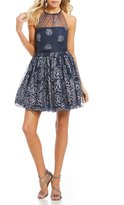 Jump Glitter Floral Pattern Fit-And-Flare Dress