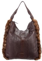 Salvatore Ferragamo Fox Fur-Accented Python Hobo