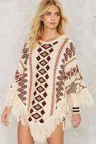 Factory Print All Over Me Fringe Poncho