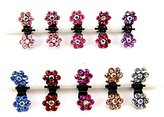 Cuhair(tm) 10pcs Crystal Rhinestone Assorted Bangs Mini Hair Claw Clip Hair Pin Flower Accessories for Girl Women Baby Mix Colored