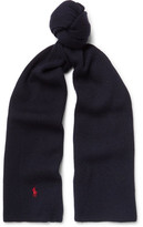 Polo Ralph Lauren Ribbed-knit Merino Wool Scarf - Black