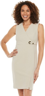 Chaps Dresses Women's Chaps Sleeveless Cross Front V-Neck Sheath Dress