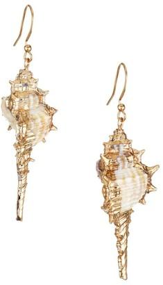 Kenneth Jay Lane 22K Goldplated Shell Drop Earrings