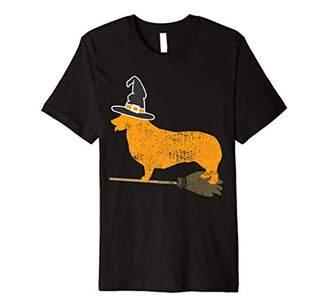 Corgi Dog Halloween Witch Vintage Premium T-Shirt