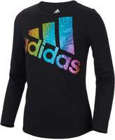 adidas Logo-Print Long-Sleeve ClimaLite T-Shirt, Toddler Girls