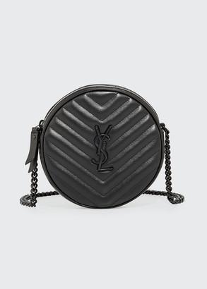 Saint Laurent Jade Round Quilted Grain de Poudre Crossbody Bag