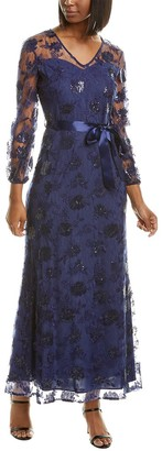 Tahari ASL Petite Peasant Sleeve Maxi Dress