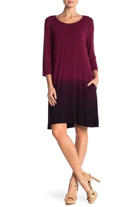 Nina Leonard 3/4 Length Sleeve Ombre Trapeze Dress