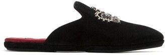 Dolce & Gabbana Encrusted Crown Patch Slippers