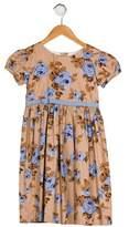 Rachel Riley Girls' Floral Print Pleated Dress