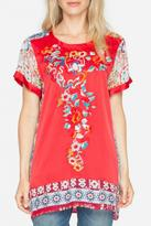 Johnny Was Embroidered Silk Top