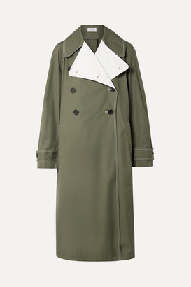 By Malene Birger Hazina Double-breasted Two-tone Cotton-gabardine Coat - Army green