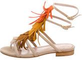 Aperlaï Suede Fringe Sandals
