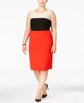 Kasper Plus Size Crepe Colorblocked Sheath Dress