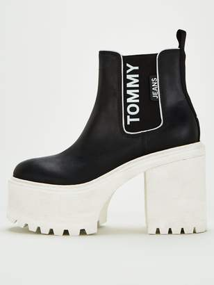 Tommy Jeans Chelsea Cleated Heeled Boots - Black