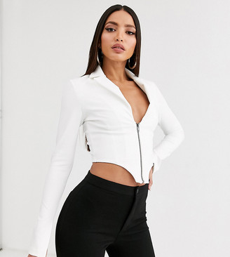 Asos DESIGN Tall crop tuxedo top in white