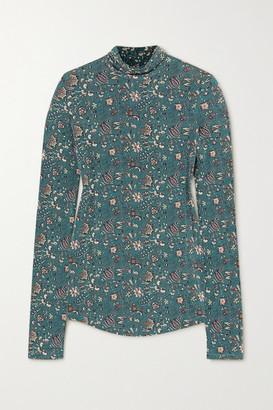 Isabel Marant Goyela Floral-print Stretch-jersey Top - Dark green
