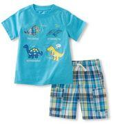 Kids Headquarters Two-Piece Dino-Printed Tee and Plaid Shorts Set