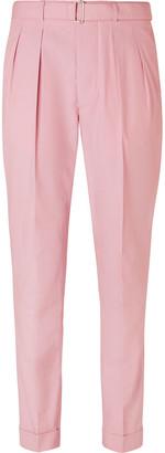Officine Generale Pierre Slim-Fit Belted Pleated Cotton-Poplin Suit Trousers