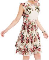 Oasis Royal Worcester Collection Pleated Floral Skater Dress, Off White