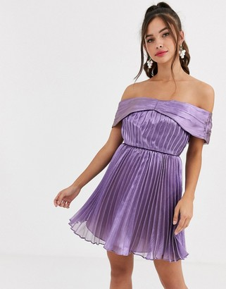 Collective The Label bardot metallic mini skater dress in lilac