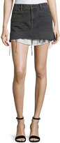 Alexander Wang Mid-Rise Cutoff Denim Skirt w/ Shirttail Hem