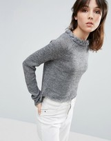 NATIVE YOUTH Plaited Neck Crew Sweater