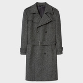 Paul Smith Men's Grey Herringbone Wool-Cashmere Double-Breasted Belted Overcoat