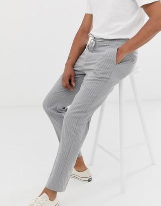 Celio slim trousers in grey pinstripe