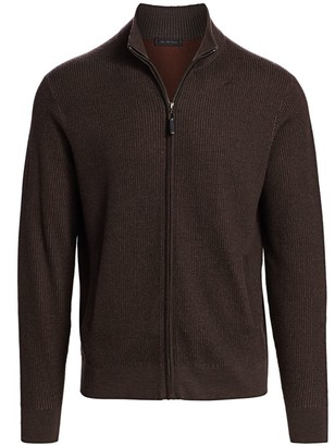 Saks Fifth Avenue COLLECTION Wool Blend Zip Sweater