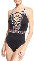 LaBlanca La Blanca La Azteca Plunging Lace-Up One-Piece Swimsuit, Black Multicolor