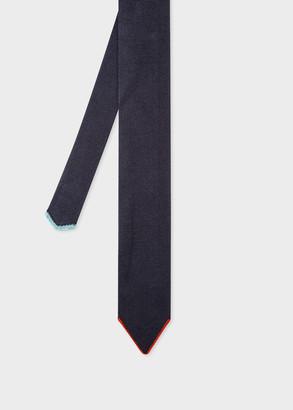 Men's Dark Navy Silk Knitted Tie With Contrast Tip