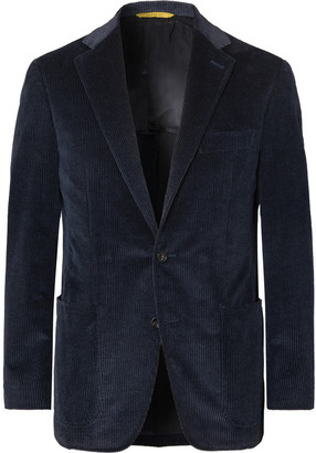 Canali Navy Kei Slim-Fit Cotton-Blend Corduroy Blazer