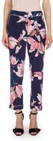 Erdem Giulia Floral-Print Pajama Pants, Navy/Pink