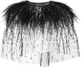 Monique Lhuillier embroidered ostrich feather bolero