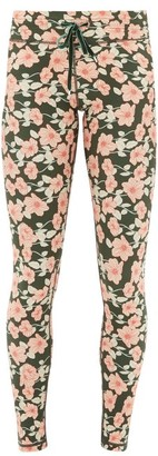 The Upside Drawstring Poppy-print Performance Leggings - Womens - Green Print