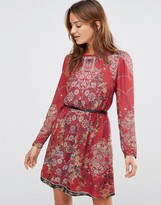 Lavand Sheer Long Sleeve Red Floral Dress with Belt