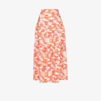 Three Graces Francesca ikat print linen midi skirt