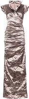 Nicole Miller ruched maxi dress - women - Polyamide/Polyester/Spandex/Elastane/Metallic Fibre - 4