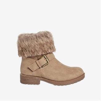 Joe Fresh Kid Girls' Faux Fur Collar Boots, Taupe (Size 13)