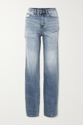 Ksubi Playback True Vintage Slash Distressed High-rise Straight-leg Jeans - Mid denim
