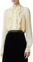 Burberry Button-Down Long-Sleeve Mulberry Silk Ruffle Top