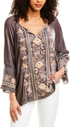 Johnny Was Marushka Velvet Fare Silk-Blend Blouse