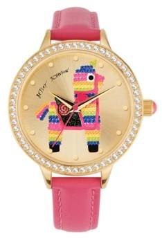 Betsey Johnson Women's Colored Alpaca Motif Pink Polyurethane Strap Watch 38mm