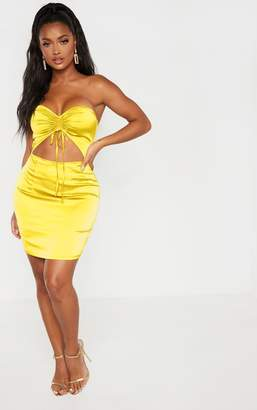 PrettyLittleThing Shape Chartreuse Cut Out Ruched Bust Bodycon Dress